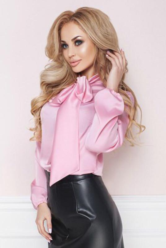 Шелковая розовая блузка -Эмилия-