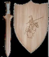 """Набор оружия игрушечный """"Рыцарь"""" 2 предм., щит 35см с грав. изображением + меч 45см,произ-во Украина(172067)"""