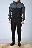 Мужской спортивный костюм Nike с капюшоном черного цвета, плечи антрацит