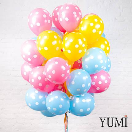Красивая связка из 45 гелиевых шариков в горошек, фото 2