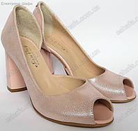 Женские босоножки на широком каблуке 8,5см из натуральной кожи Розовый перламутр , фото 1