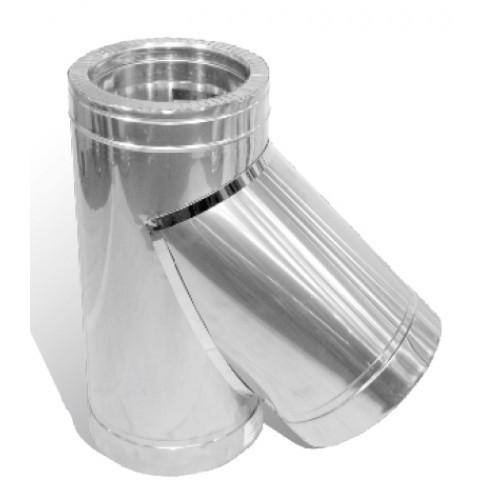 Тройник дымохода двустенный нерж/оцинк Версия Люкс 45° D-250/320 толщина 0,8 мм