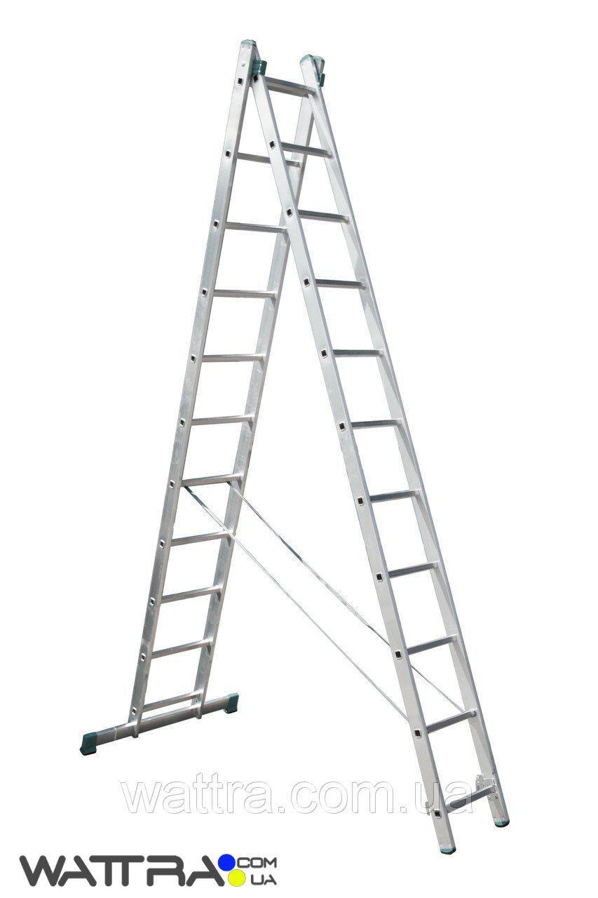 ⭐ Лестница 7511 ITOSS универсальная, алюминиевая из двух частей, 2х11 ступеней, длина 5,13 / 3,15м