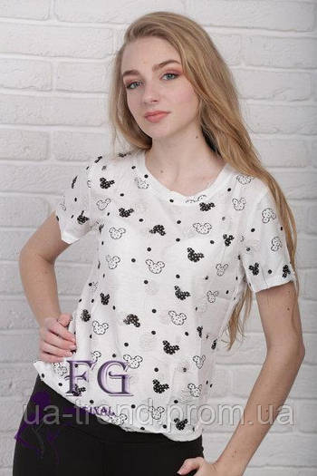 Женская футболка с принтом культового мультяшного героя «Mikky»