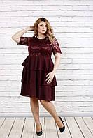 Гипюровое платье с оборками для пышных женщин, 42-74 размер, фото 1