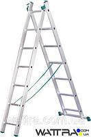 ⭐ Лестница 7507 ITOSS универсальная, алюминиевая из двух частей, 2х7 ступеней, длина 3,14 / 2,01м