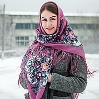 Розовый павлопосадский шерстяной платок Василиса