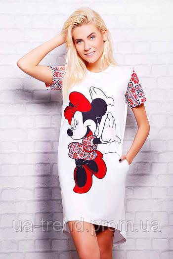 Длинная женская футболка Вышиванка Minnie