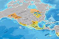 Скретч-карта мира Silver в тубусе на английском