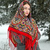 Красный павлопосадский шерстяной платок Гжель