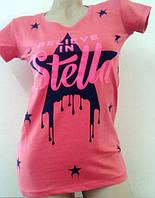 Трикотажная женская футболка розового цвета