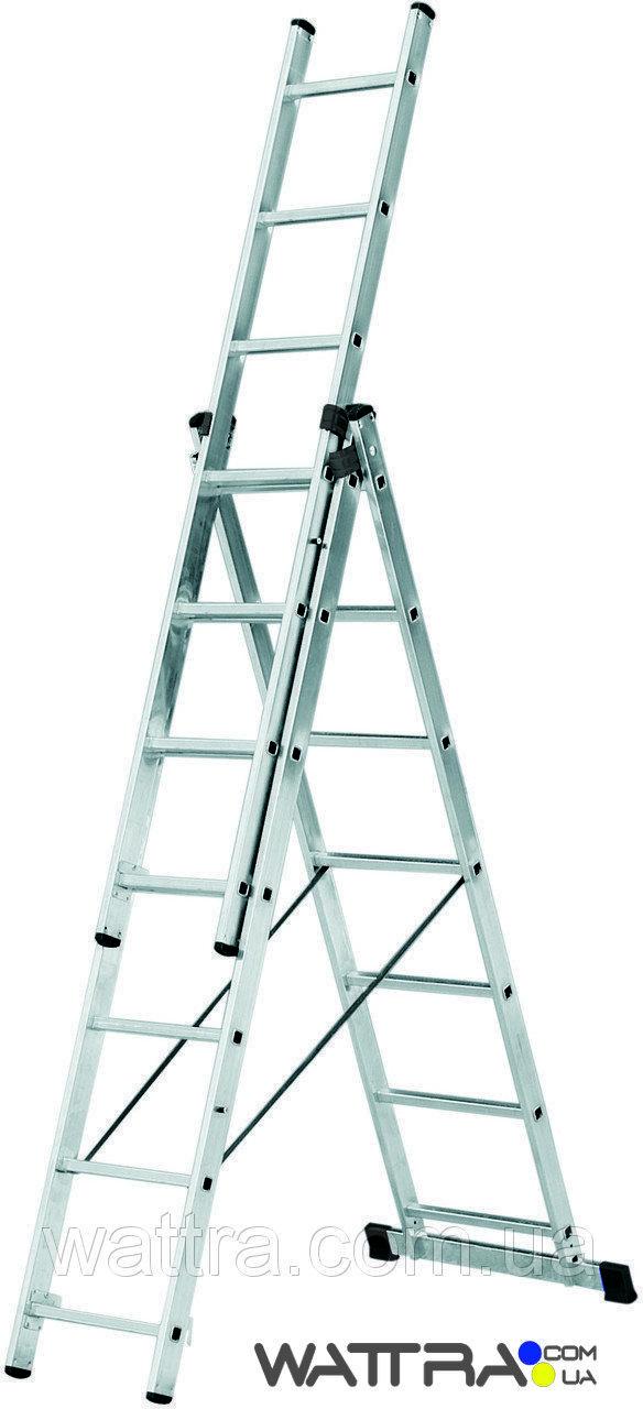 ⭐ Лестница CE3х7 FORTE универсальная, алюминиевая 3х7 ступеней, длина 4,25 / 2,01м., Вес 10,65кг.