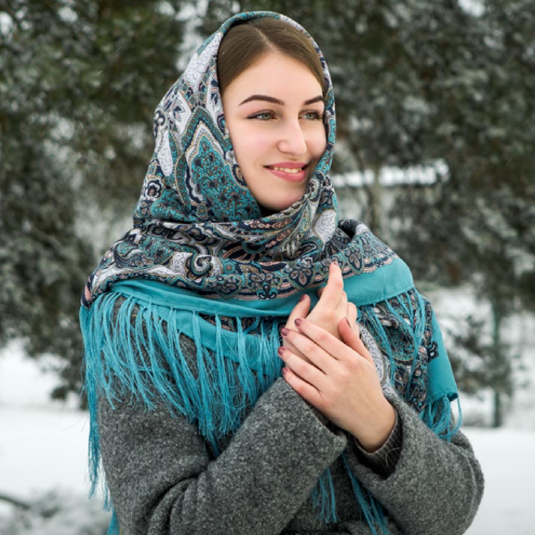 Бирюзовый павлопосадский шерстяной платок Валентина