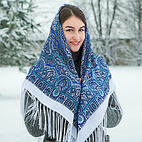 Белыйпавлопосадский шерстяной платок Регина