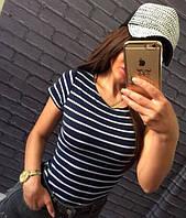Женская футболка в полоску темно-синяя