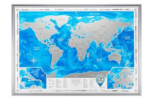 Скретч-карта мира Silver в рамке на английском