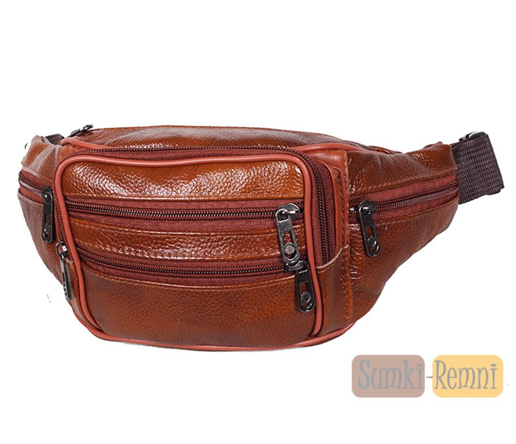 Мужская кожаная сумка на пояс D1 коричневая
