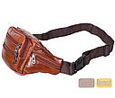 Мужская кожаная сумка на пояс D1 коричневая, фото 2