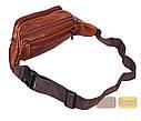 Мужская кожаная сумка на пояс D1 коричневая, фото 4