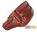 Мужская кожаная сумка на пояс D1 коричневая, фото 7