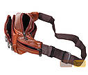 Мужская кожаная сумка на пояс D1 коричневая, фото 8