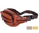 Мужская кожаная сумка на пояс D1 коричневая, фото 9