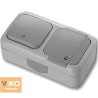 Выключатель проходной накладной серый + розетка с ЗК Palmiye Viko, 90555584
