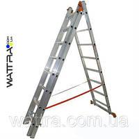 Лестница 01411 BUDFIX алюминиевая, универсальная из трех частей 3 х 11 ступеней, длина 6,98/3,06м, вес 15,4кг