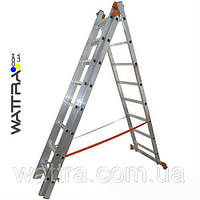 ⭐ Лестница универсальная из трех частей 01410 BUDFIX 3х10 ступеней, длина 6,12 / 2,76м, вес 14 кг