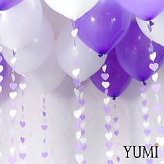 Ассорти поз потолок из 10 сиреневых и 10 белых шаров с гирляндами сиренево-белые сердечки