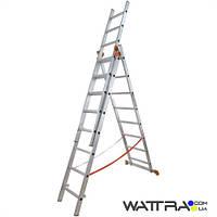 Лестница 01409 BUDFIX универсальная, алюминиевая из трех частей 3х9 ступеней, длина 5,54 / 2,46м, вес 12,6 кг