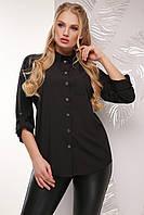 Классическая свободная женская блузка-рубашка с длинным рукавом большие размеры черная