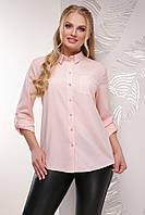 Классическая свободная женская блузка-рубашка с длинным рукавом большие размеры пудра