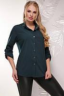Классическая свободная женская блузка-рубашка с длинным рукавом большие размеры темно-зеленая
