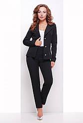 Классические женские брюки слегка зауженные, средняя посадка, однотонные черные