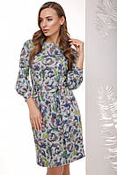 Нарядное женское приталенное серое платье с поясом, рукав 3/4 фонариком, абстракция цветы