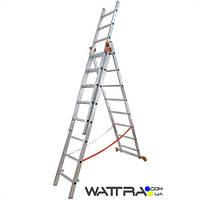 Лестница 01408 BUDFIX универсальная алюминиевая из трех частей 3х8 ступеней, длина 4,96 / 2,16 м, вес 11,4 кг