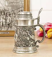 Коллекционный оловянный пивной бокал, пищевое олово, Германия, Охота, фото 1