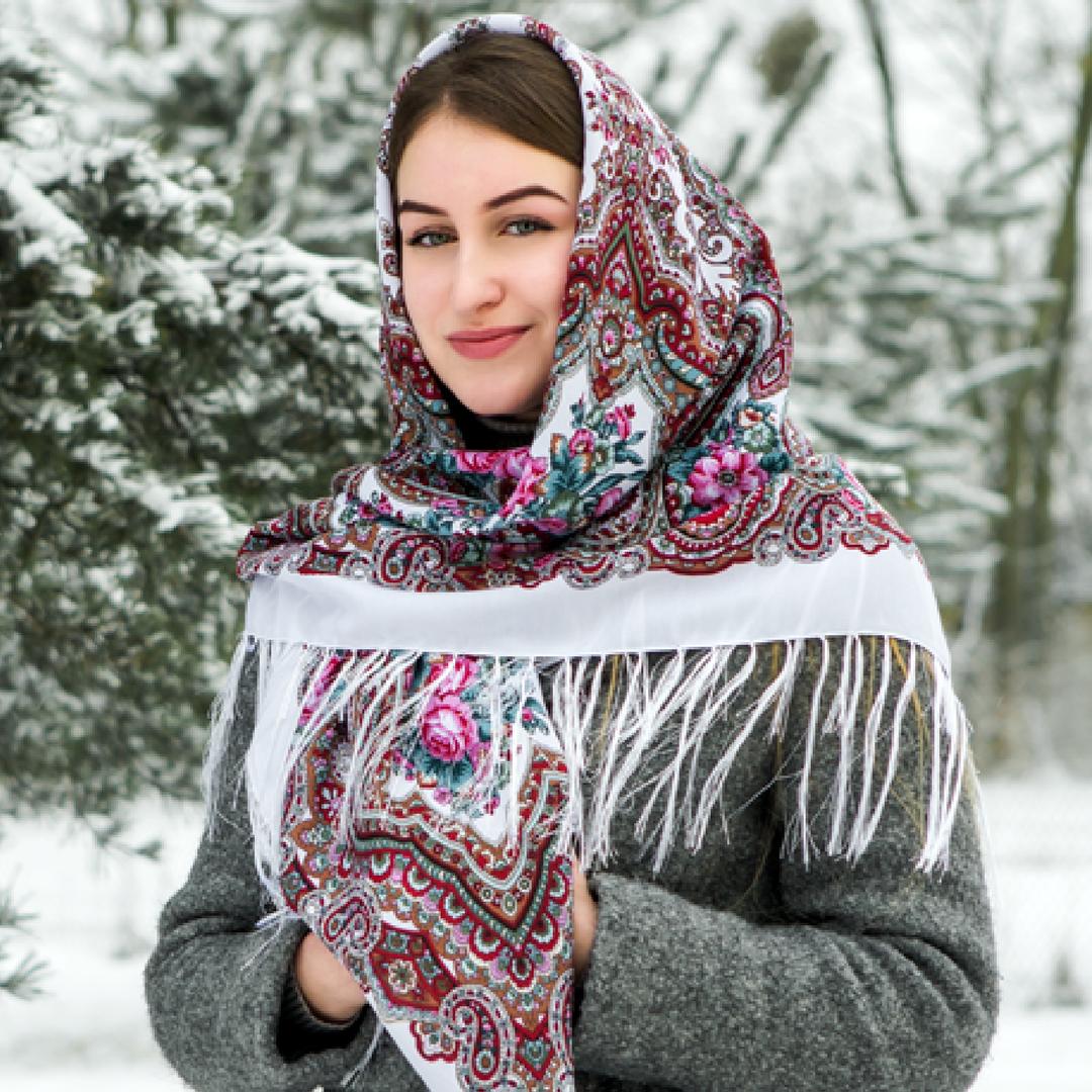 Белый павлопосадский шерстяной платок Елизавета