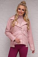 Женская короткая демисезонная куртка комбинированная с отложным воротником без капюшона пудра 18-006