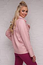Женская короткая демисезонная куртка комбинированная с отложным воротником без капюшона пудра 18-006, фото 2