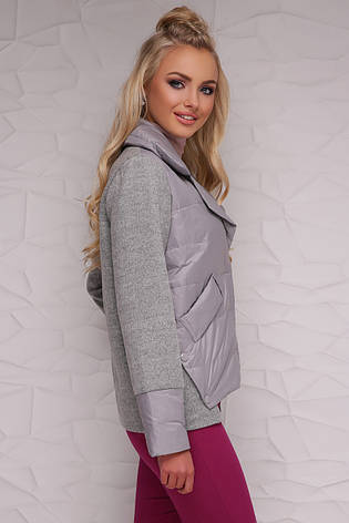 Женская короткая демисезонная куртка комбинированная с отложным воротником без капюшона серая 18-006, фото 2