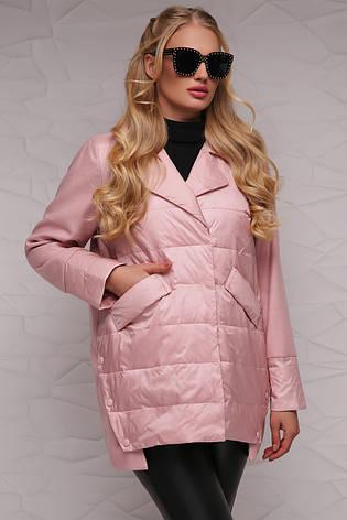 Женская демисезонная куртка комбинированная с отложным воротником короткая, большие размеры пудра 18-149, фото 2