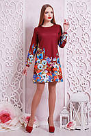 Нарядное женское бордовое платье трапеция с цветами,длинный рукав Фиалки Тана-1Ф (креп) д/р
