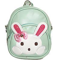 Детская сумочка – рюкзак, мятный, Зайчик.