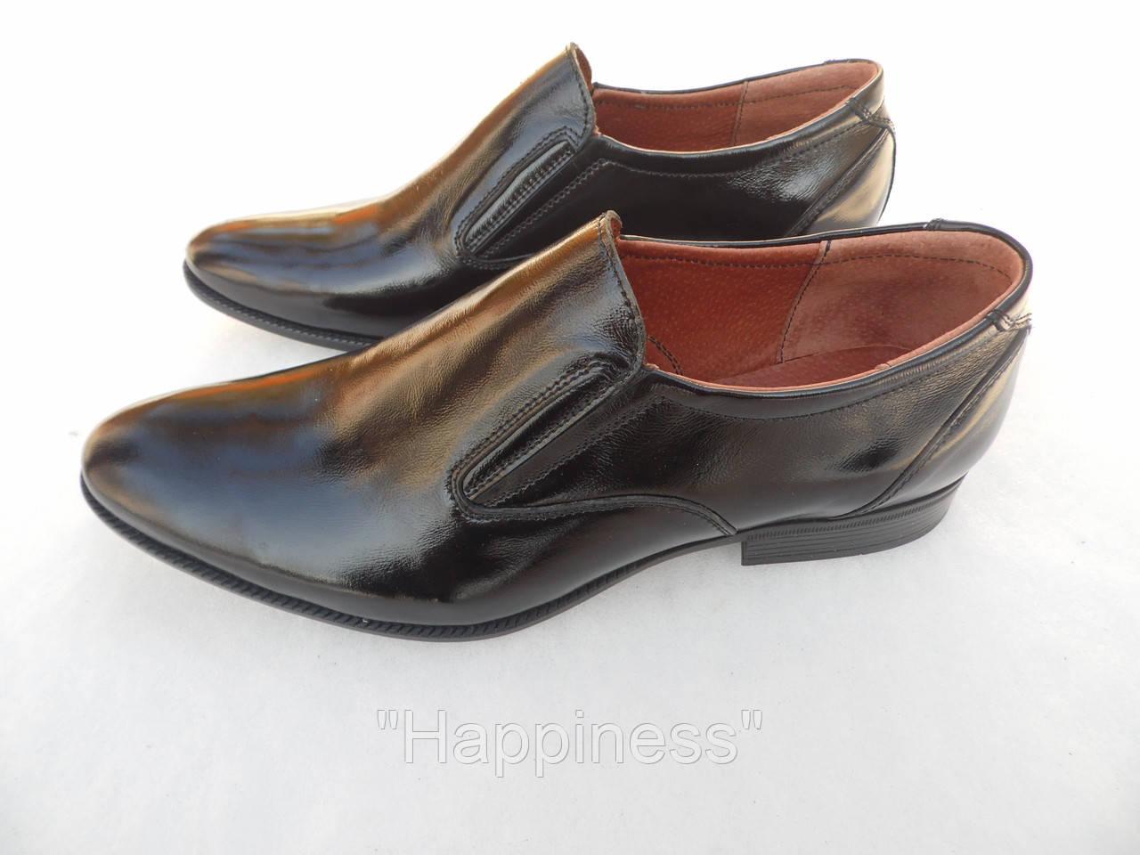 Туфли классические   из лаковой кожи  (на резинке)