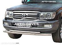 Защита переднего бампера Toyota LC100 двойной ус (п.к. Т.ТК)