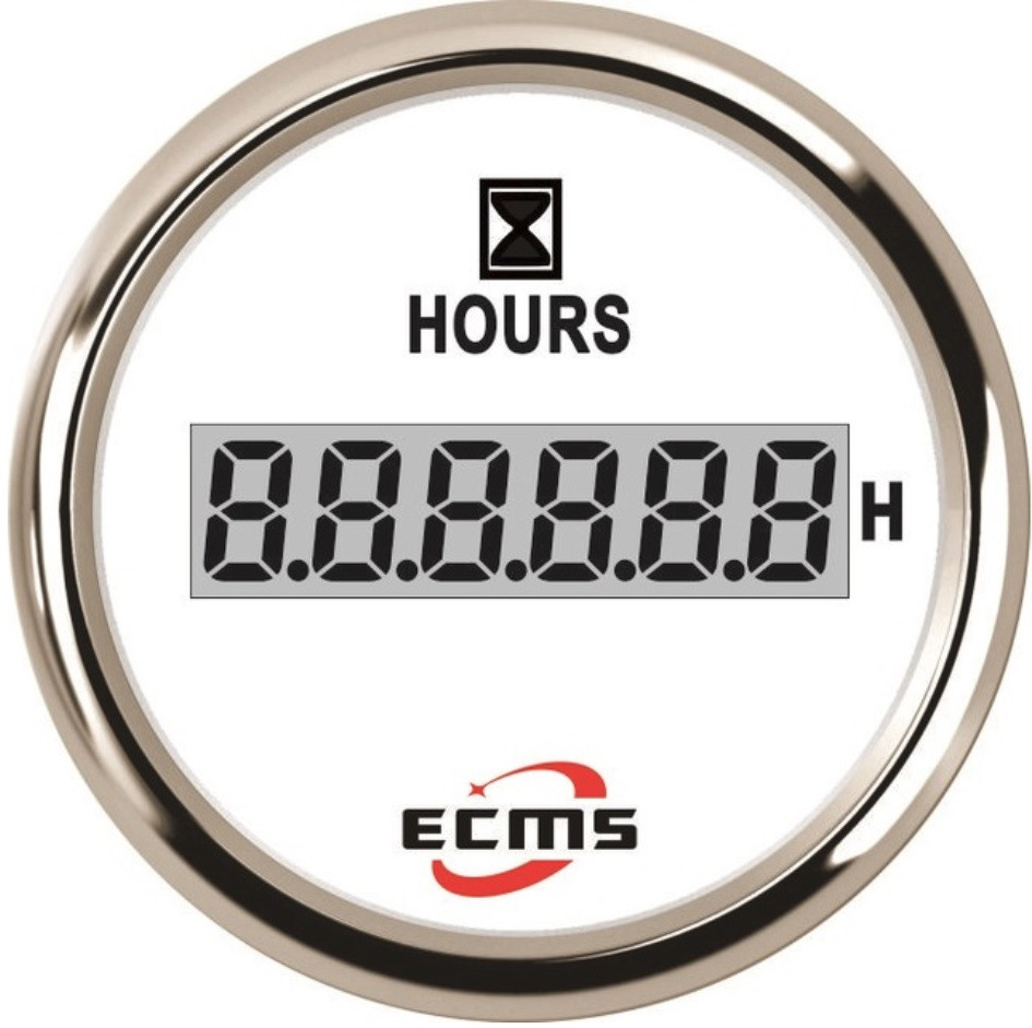 Счетчик моточасов лодочный ecms 52 мм белый