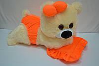 Плюшевая мишка Малышка 45 см персиковая с оранжевым