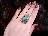 Малахитовая хризоколла красивое кольцо с камнем хризоколла в серебре 19 размер. Природная хризоколла. Индия!, фото 1